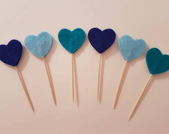Heart cupcake toppers, heart cake topper, birthday party decorations, boys baby shower decorations, blue party, mini food picks, cake picks