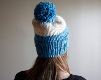 Sky Blue Chunky Double Brim Beanie || Homemade Knit || Ready to Ship || Knit Hat || Winter Beanie