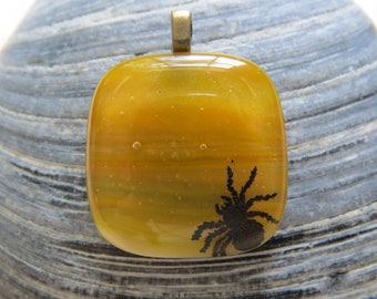 0276 Spider on Fused Glass Pendant