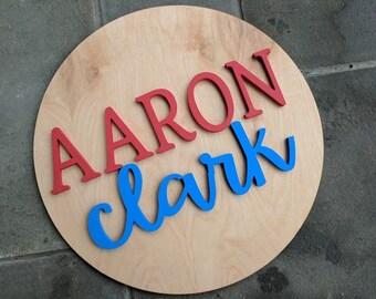Les garçons nom personnalisé bois signe - cercle nom signe - nom de cercle de bois - chambre d'enfant nom signe - décoration enfants - nom Cursive