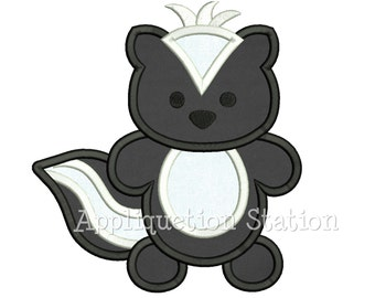 Woodland Skunk Applique Machine Embroidery Design Pattern Boy baby animal zoo INSTANT DOWNLOAD
