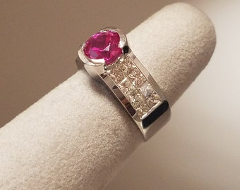 18 Karat White Gold ring set with princess cut natural diamonds and synthetic Pink Sapphire center stone