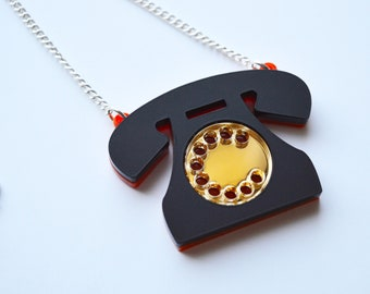 phone necklace, retro telephone necklace, acrylic necklace, laser cut, retro style, cute and kitsch jewellery, gift for a friend