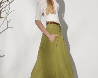 full length skirt, A line skirt, linen skirts, pleated skirt, retro skirt, high waisted skirt, pocket skirt, ruffle skirt (1153)