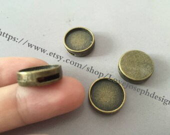 12mm slide bezel---wholesale 100 Pieces /Lot Antique Bronze & Silver Plated 12mm slide bracelet blanks cabochon bezel tray findings (#0403)