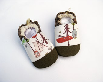 Eco-Canvas Vegan Camping / non-slip soft sole baby shoes / made to order / babies toddlers preschool