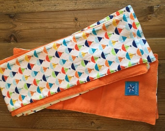 Sailboat Print Flannel Burp Cloth