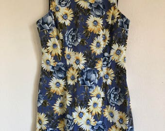Vintage floral sun flower denim sleeveless dress 60's vibe