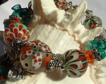 Lampwork Bracelet FIELD OF FLOWERS