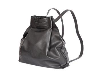 Women's Backpack Purse, Black Leather Backpack Bag, Leather Drawstring Backpack, Everyday Leather Backpack, Black Backpack - Jessy bag