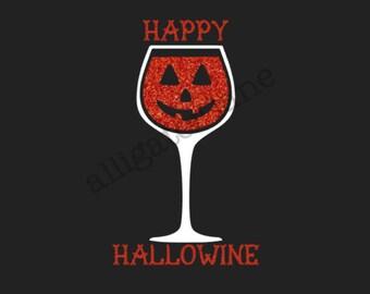 Happy Hallowine Tank T Shirt Ladies Shirt Wine Halloween Fall Orange Glitter