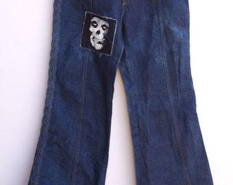 70's Sedgefield Misfits Patch Braided Panel Mens Denim Bell Bottom Pants 4ecHKYvD