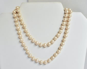 Pearl Necklace Signed MARVELLA Hand Knotted OFF White Beads Classic Vintage Jewelry 29 Inches Long