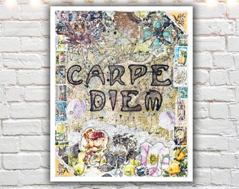 carpe diem print - mixed media collage art - shabby chic wall art - prints