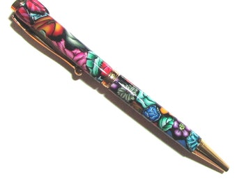 Twist pen refillable black ink gold finish Millefiori floral polymer clay design nbr133