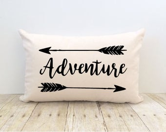 Adventure Pillow Cover, Outdoors, Awaits, Camping, Lake, Wilderness, Explore, Arrow, Tribal, Home Sweet Home, New Home, Nature