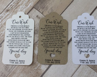 Personalised wedding favour tags Honeymoon/Our wish tag