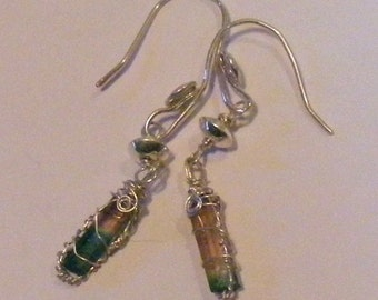 Pink and green Tourmaline quartz crystal Earrings
