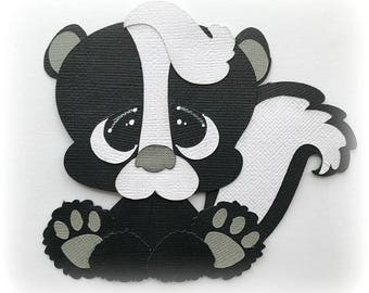 skunk animal  premade paper piecing 3d die cut by my tear bears kira