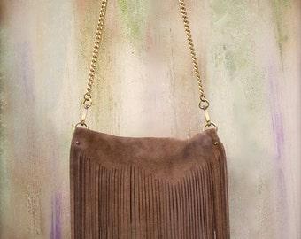 fringe crossbody bag, camel suede leather bag, fringe clutch agnès de juliis