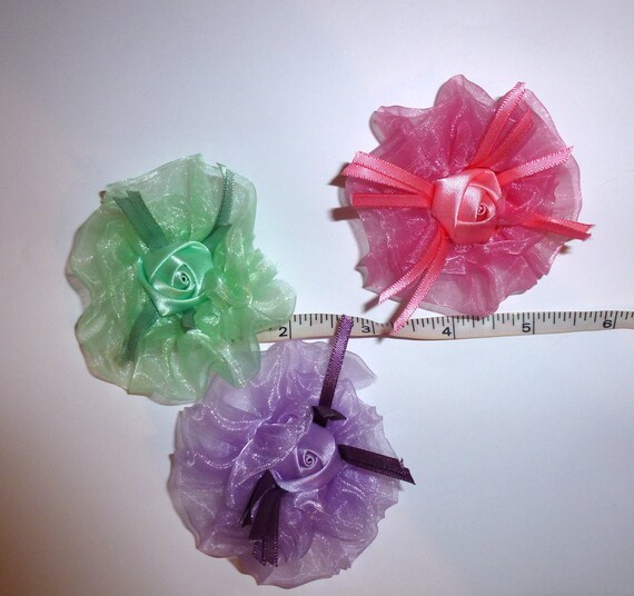 Puppy Bows ~ Green pink purple organza satin roses  pet hair bow barrettes or bands (fb103)