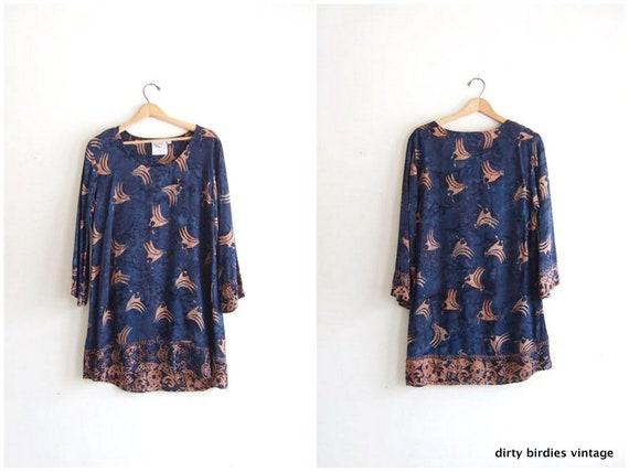 Vintage Batik Mini Dress Bird Print Hand Made Indonesian Bohemian Blue Tunic Top Dress Boho Rayon Dress Womens Medium