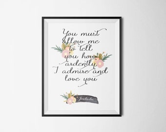 Jane Austen Literary Print - Floral Bookish Quote Posters