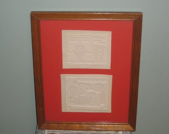 Set of Two Collectible Vintage Coca Cola Printing Ink stamp plates in a 11 x 14 wood Frame.