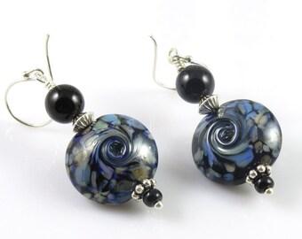Blue and Black Lampwork Earrings, Blue Swirl Earrings, Lampwork Glass Jewelry, Lentil Bead Earrings, Denim Blue