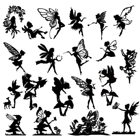 Detailed Fairy Die Cut Out Silhouette 20 x fairies and a