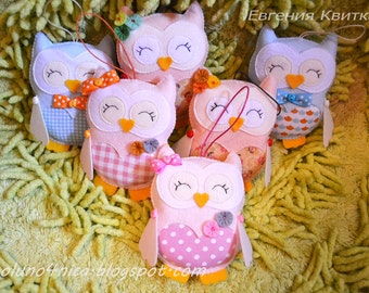 Nursery decor Pink owl Cute stuffed animals Valentines gift Girlfriend gift Kids gift Girls room decor Gift for friend Cream blue ornaments