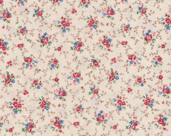 Cotton fabric small bouquets of red and blue retro flowers on sand background