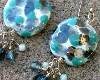 SALE - Spotted Kazuri Cluster Dangles Earrings - E705