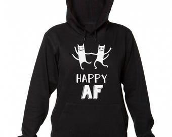 Happy AF Crazy Dancing Cats Design Women's Hooded Sweatshirt