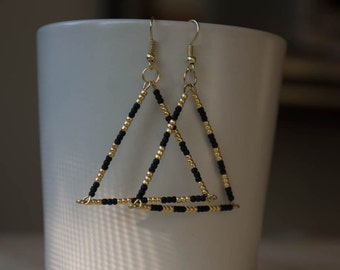 Beaded triangle earrings, African inspired, black and gold