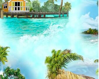 Fabric QT Margaritaville Island Vignettes Blue 26159 B