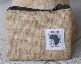 Coin Purse, burlap, fairtrade, handmade, Africa, Ethiopia, recycled burlap