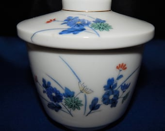 Japanese Covered Tea Cup - White with Blue Flowers, Made in Japan,