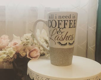 all i need is COFFEE & Lashes Glitter Dipped Mug