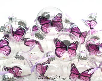 Set of 10 Monarch Butterfly Ornaments in glass bauble - you choose colors - perfect little gifts for your special people