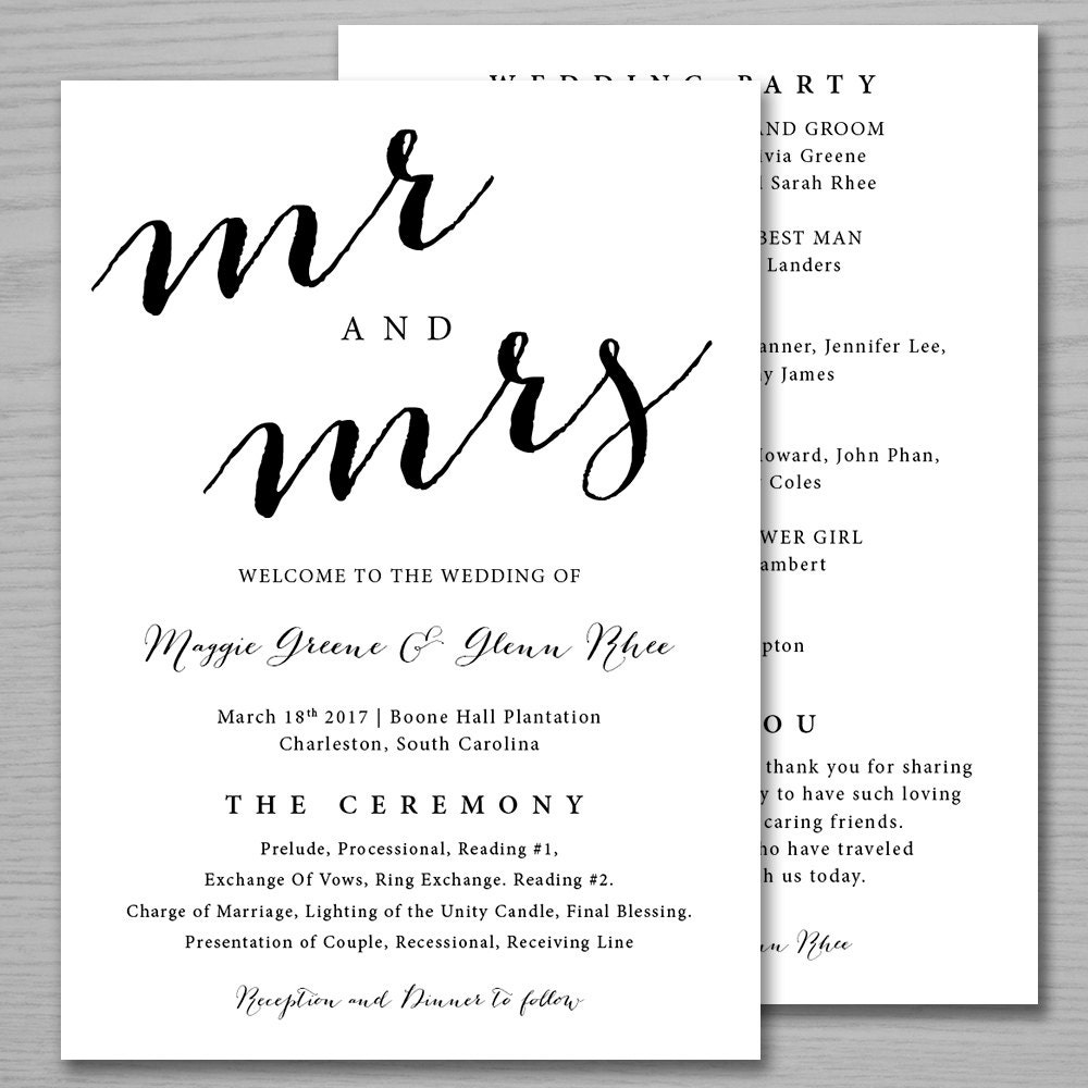 Traditional Mr. & Mrs. Wedding Programs Wedding Ceremony