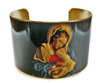 Madonna and Child cuff bracelet brass adjustable Free Shipping Gifts for her