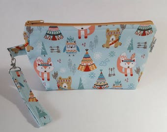 Woodland Creatures Wedge Project Bag for Knitting or Crochet, Travel/Makeup bag, too!