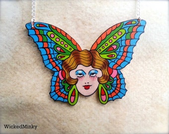 Vintage tattoo gypsy butterfly pinup girl necklace