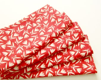 Cloth Napkins - Set of 4 - Organic - White Tossed Flowers on Red, Floral - Dinner, Table, Everyday, Wedding