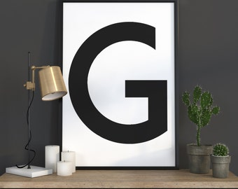 G Letter Print, Initial Wall Art, Scandinavian Art, Scandinavian Poster, Initial Poster G Letter Poster, G Letter Print, INSTANT DOWNLOAD