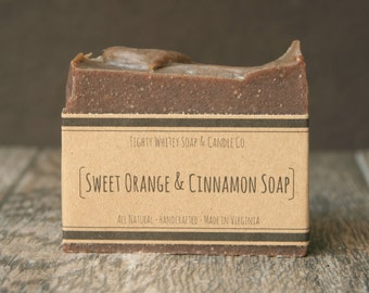 Sweet Orange and Cinnamon Soap - All Natural Soap, Handmade Soap, Vegan Bar Soap - Orange Soap, Citrus Soap - Boyfriend Gift, Husband Gift