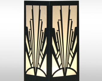 Art Deco Fan Design Laser cut Luminary Table Lamp Centerpiece - #100
