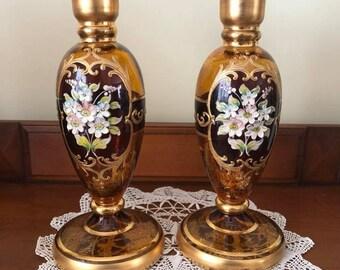 Bohemian Amber Glass 24 KT Gold Candlesticks Venetian Glass