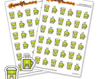 Coffee time planner stickers - 72 green kiss-cut coffee tracker stickers - cat coffee stickers
